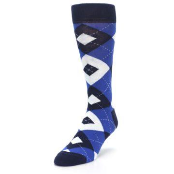 Image of Horizon Mist Blue Navy Argyle Men's Dress Socks (side-2-front-07)
