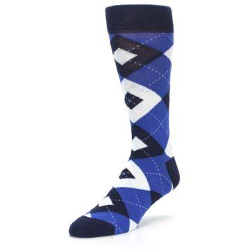 Image of Horizon Mist Blue Navy Argyle Men's Dress Socks (side-2-front-08)