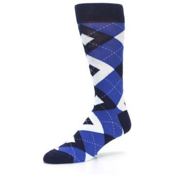 Image of Horizon Mist Blue Navy Argyle Men's Dress Socks (side-2-09)