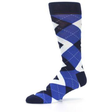 Image of Horizon Mist Blue Navy Argyle Men's Dress Socks (side-2-10)