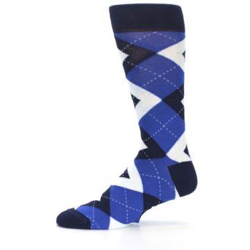 Image of Horizon Mist Blue Navy Argyle Men's Dress Socks (side-2-11)