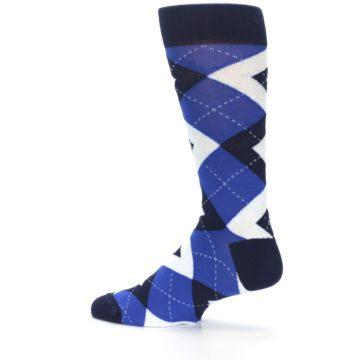 Image of Horizon Mist Blue Navy Argyle Men's Dress Socks (side-2-13)