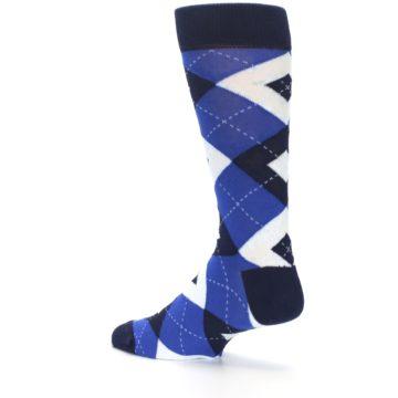 Image of Horizon Mist Blue Navy Argyle Men's Dress Socks (side-2-back-14)