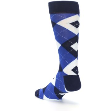 Image of Horizon Mist Blue Navy Argyle Men's Dress Socks (side-2-back-15)