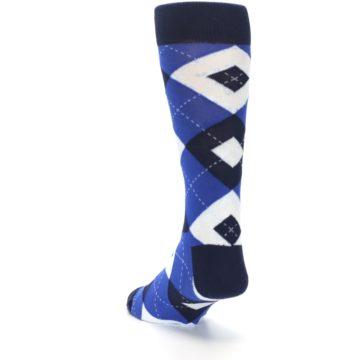 Image of Horizon Mist Blue Navy Argyle Men's Dress Socks (side-2-back-16)