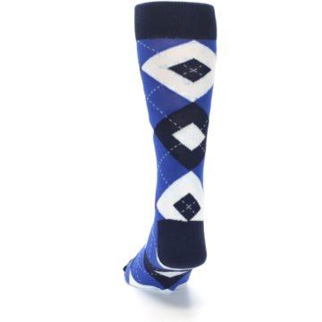 Image of Horizon Mist Blue Navy Argyle Men's Dress Socks (back-17)