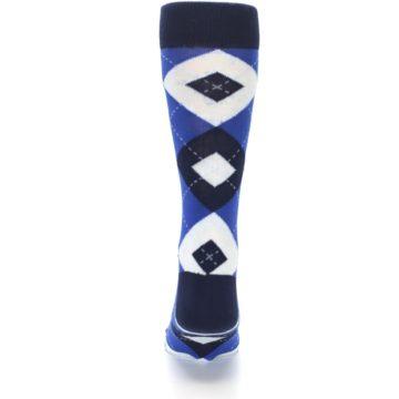 Image of Horizon Mist Blue Navy Argyle Men's Dress Socks (back-18)
