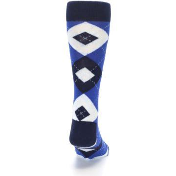 Image of Horizon Mist Blue Navy Argyle Men's Dress Socks (back-19)