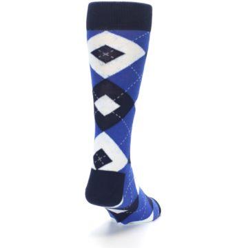 Image of Horizon Mist Blue Navy Argyle Men's Dress Socks (side-1-back-20)
