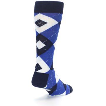 Image of Horizon Mist Blue Navy Argyle Men's Dress Socks (side-1-back-21)