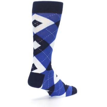 Image of Horizon Mist Blue Navy Argyle Men's Dress Socks (side-1-back-22)