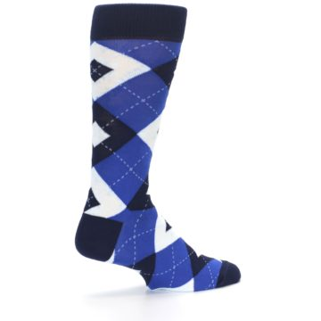 Image of Horizon Mist Blue Navy Argyle Men's Dress Socks (side-1-23)