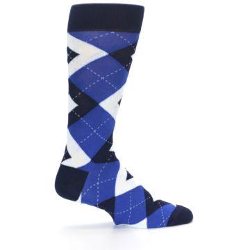 Image of Horizon Mist Blue Navy Argyle Men's Dress Socks (side-1-24)