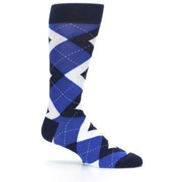 Image of Horizon Mist Blue Navy Argyle Men's Dress Socks (side-1-25)