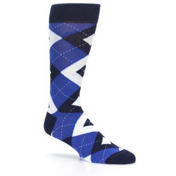 Image of Horizon Mist Blue Navy Argyle Men's Dress Socks (side-1-26)