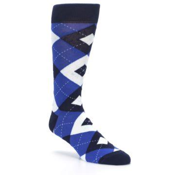 Image of Horizon Mist Blue Navy Argyle Men's Dress Socks (side-1-27)