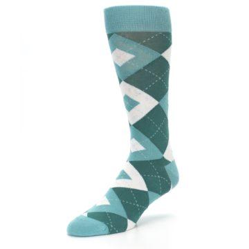 Image of Dark Green Gem Argyle Wedding Groomsmen Men's Dress Socks (side-2-front-08)