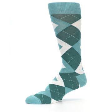 Image of Dark Green Gem Argyle Wedding Groomsmen Men's Dress Socks (side-2-10)