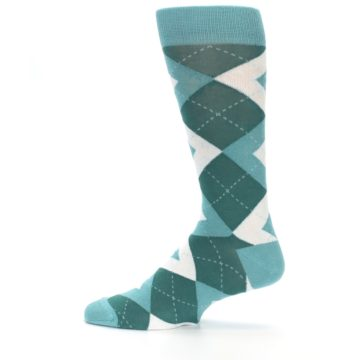 Image of Dark Green Gem Argyle Wedding Groomsmen Men's Dress Socks (side-2-12)