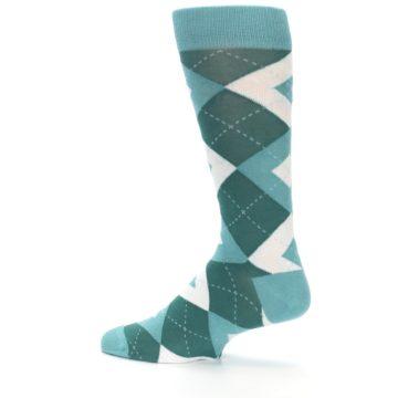 Image of Dark Green Gem Argyle Wedding Groomsmen Men's Dress Socks (side-2-13)
