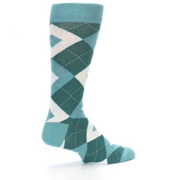 Image of Dark Green Gem Argyle Wedding Groomsmen Men's Dress Socks (side-1-23)