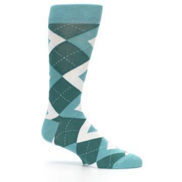 Image of Dark Green Gem Argyle Wedding Groomsmen Men's Dress Socks (side-1-25)