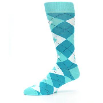 Image of Jade Spa Turquoise Argyle Wedding Groomsmen Men's Dress Socks (side-2-10)