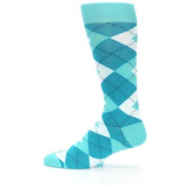 Image of Jade Spa Turquoise Argyle Wedding Groomsmen Men's Dress Socks (side-2-12)