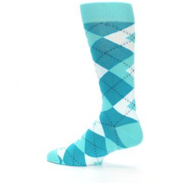 Image of Jade Spa Turquoise Argyle Wedding Groomsmen Men's Dress Socks (side-2-13)