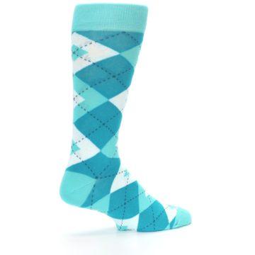 Image of Jade Spa Turquoise Argyle Wedding Groomsmen Men's Dress Socks (side-1-23)