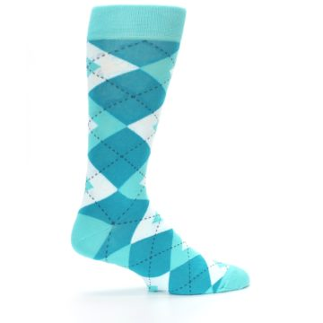 Image of Jade Spa Turquoise Argyle Wedding Groomsmen Men's Dress Socks (side-1-24)