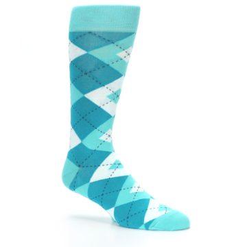 Image of Jade Spa Turquoise Argyle Wedding Groomsmen Men's Dress Socks (side-1-26)
