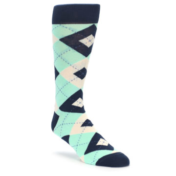 Image of Mint Navy Burlap Argyle Wedding Groomsmen Men's Dress Socks (side-1-front-01)