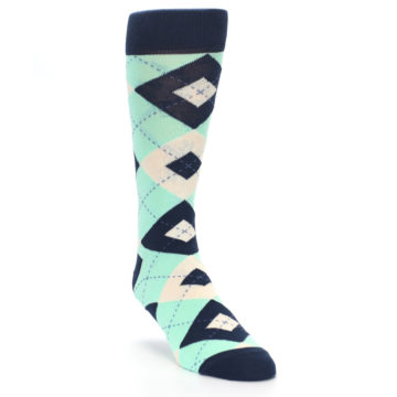 Image of Mint Navy Burlap Argyle Wedding Groomsmen Men's Dress Socks (side-1-front-02)