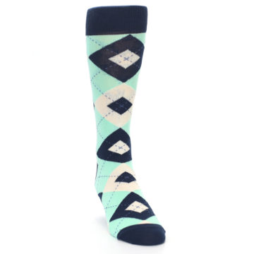 Image of Mint Navy Burlap Argyle Wedding Groomsmen Men's Dress Socks (side-1-front-03)
