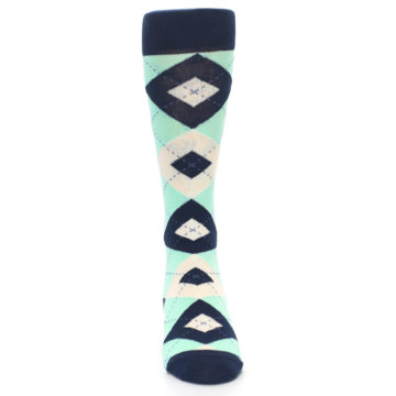 Image of Mint Navy Burlap Argyle Wedding Groomsmen Men's Dress Socks (front-04)
