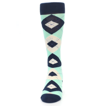 Image of Mint Navy Burlap Argyle Wedding Groomsmen Men's Dress Socks (front-05)