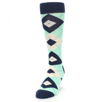 Image of Mint Navy Burlap Argyle Wedding Groomsmen Men's Dress Socks (side-2-front-06)