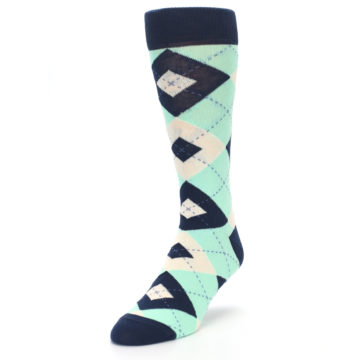 Image of Mint Navy Burlap Argyle Wedding Groomsmen Men's Dress Socks (side-2-front-07)