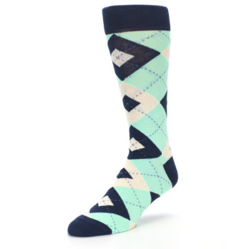 Image of Mint Navy Burlap Argyle Wedding Groomsmen Men's Dress Socks (side-2-front-08)