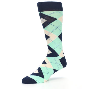 Image of Mint Navy Burlap Argyle Wedding Groomsmen Men's Dress Socks (side-2-09)