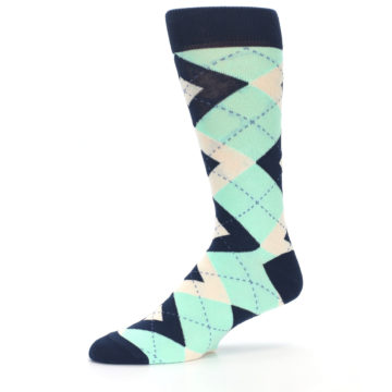 Image of Mint Navy Burlap Argyle Wedding Groomsmen Men's Dress Socks (side-2-10)