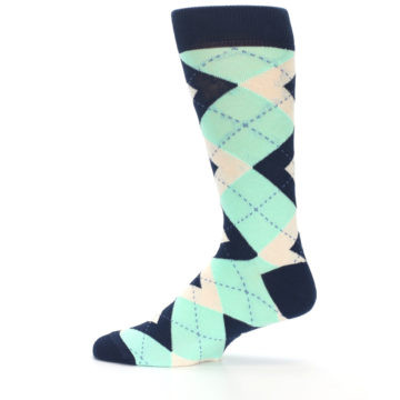 Image of Mint Navy Burlap Argyle Wedding Groomsmen Men's Dress Socks (side-2-12)