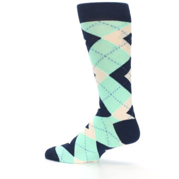 Image of Mint Navy Burlap Argyle Wedding Groomsmen Men's Dress Socks (side-2-13)