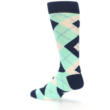 Image of Mint Navy Burlap Argyle Wedding Groomsmen Men's Dress Socks (side-2-back-14)