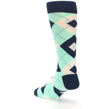 Image of Mint Navy Burlap Argyle Wedding Groomsmen Men's Dress Socks (side-2-back-15)