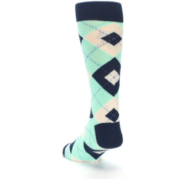 Image of Mint Navy Burlap Argyle Wedding Groomsmen Men's Dress Socks (side-2-back-16)