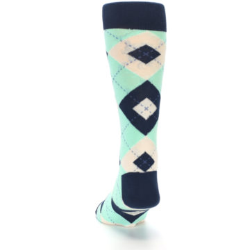 Image of Mint Navy Burlap Argyle Wedding Groomsmen Men's Dress Socks (back-17)
