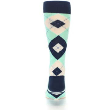 Image of Mint Navy Burlap Argyle Wedding Groomsmen Men's Dress Socks (back-18)