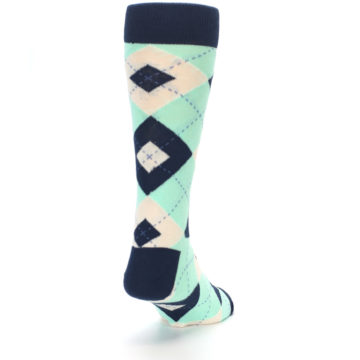 Image of Mint Navy Burlap Argyle Wedding Groomsmen Men's Dress Socks (side-1-back-20)
